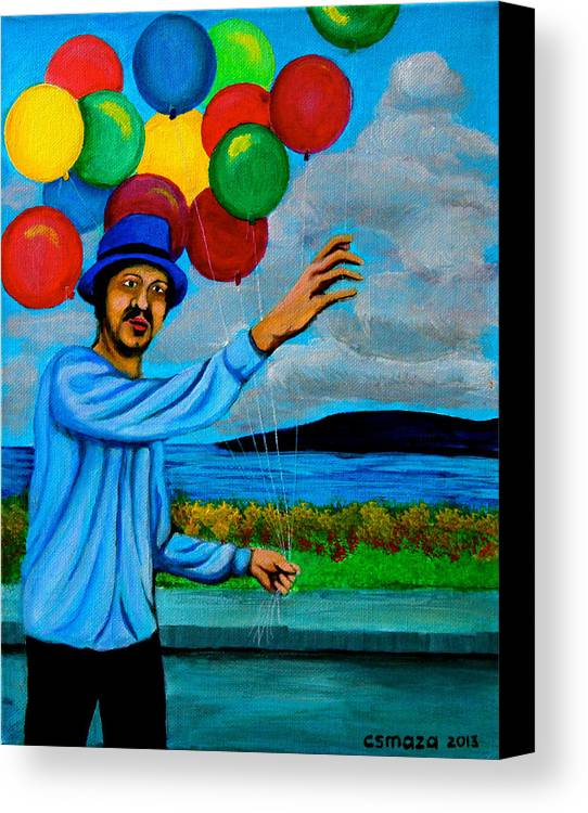 Balloon Canvas Print featuring the painting The Balloon Vendor by Cyril Maza