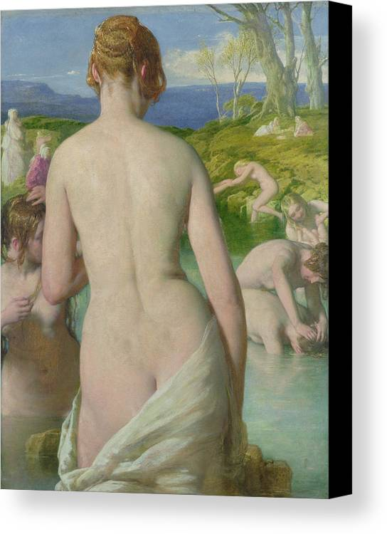 Nude Canvas Print featuring the painting The Bathers by William Mulready
