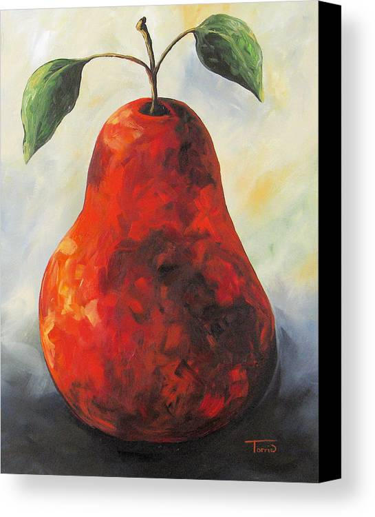 Pear Canvas Print featuring the painting The Big Red Pear by Torrie Smiley