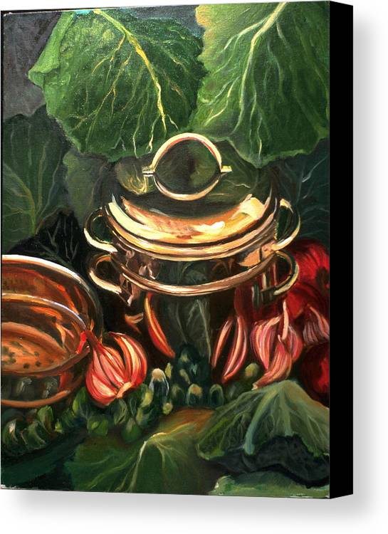 Still Life Canvas Print featuring the painting The Cabbage Pot by Patricia Reed