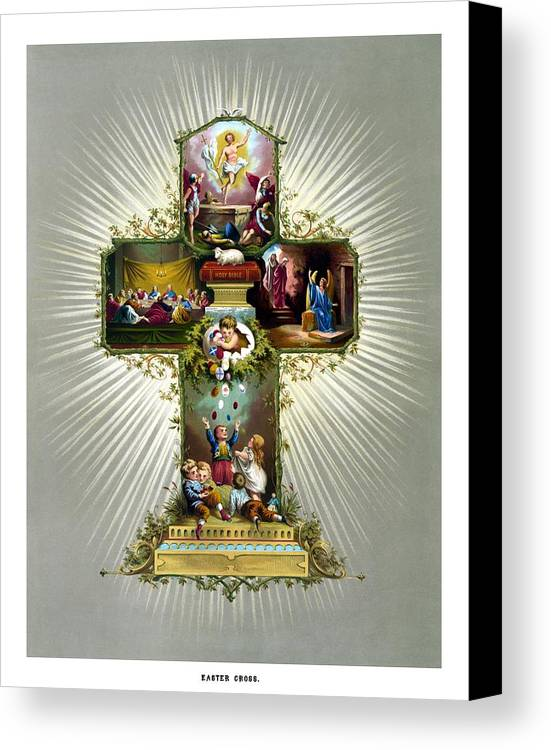 Jesus Canvas Print featuring the painting The Easter Cross by War Is Hell Store
