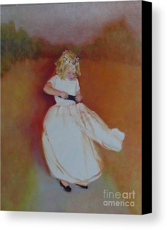 Contemporary Portrait Canvas Print featuring the painting The Flower Girl Copyrighted by Kathleen Hoekstra