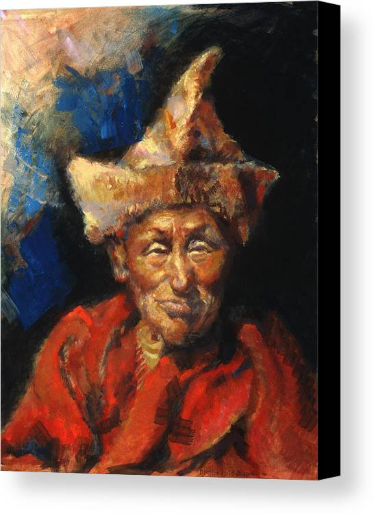 Oil Paintings Canvas Print featuring the painting The Laughing Monk by Ellen Dreibelbis