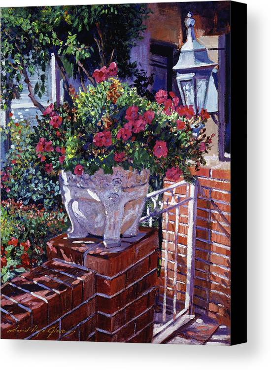Flowers Canvas Print featuring the painting The Ornamental Floral Gate by David Lloyd Glover