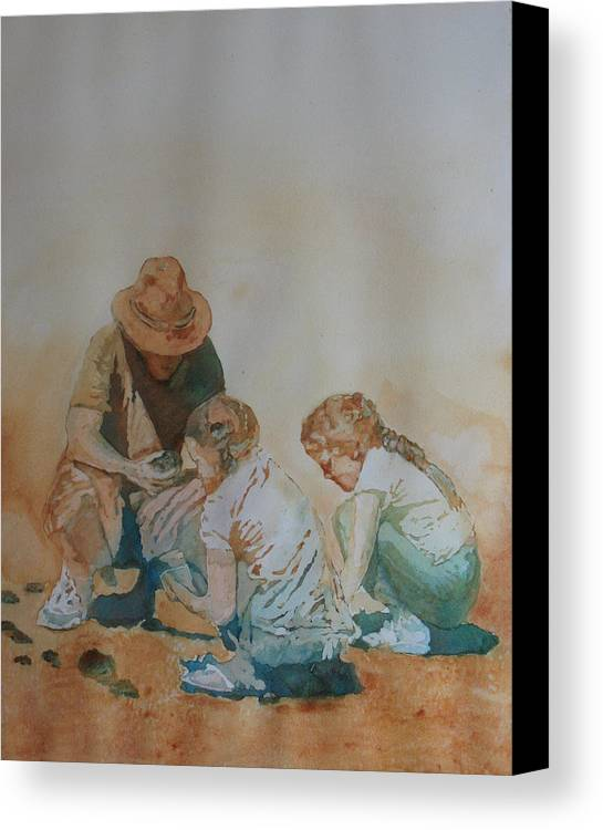 Fathers Canvas Print featuring the painting The Pumice Seekers by Jenny Armitage