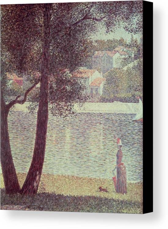 The Canvas Print featuring the painting The Seine At Courbevoie by Georges Pierre Seurat