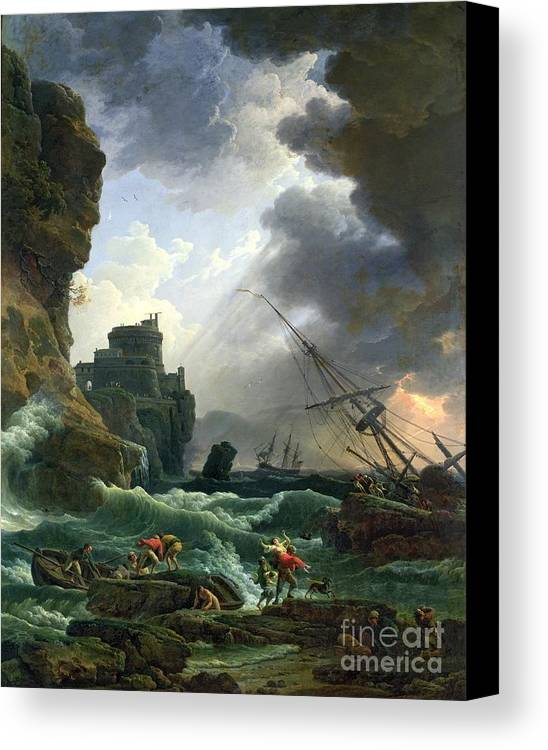 Storm Canvas Print featuring the painting The Storm by Claude Joseph Vernet