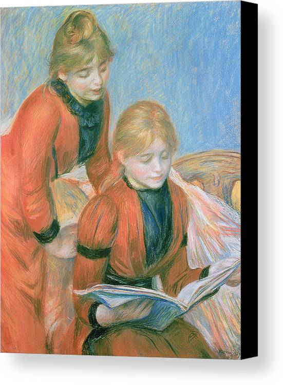 The Canvas Print featuring the pastel The Two Sisters by Pierre Auguste Renoir
