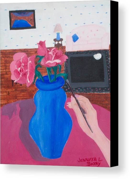 Vase Canvas Print featuring the painting The Vase by Jennifer Hernandez
