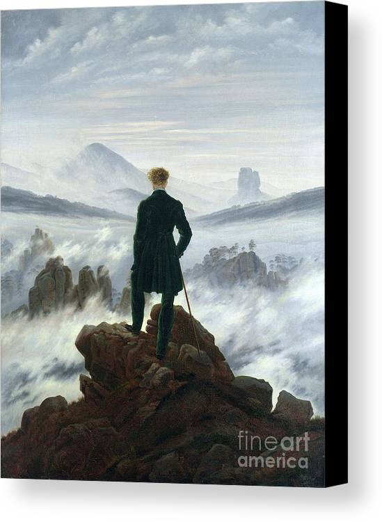 The Canvas Print featuring the painting The Wanderer Above The Sea Of Fog by Caspar David Friedrich