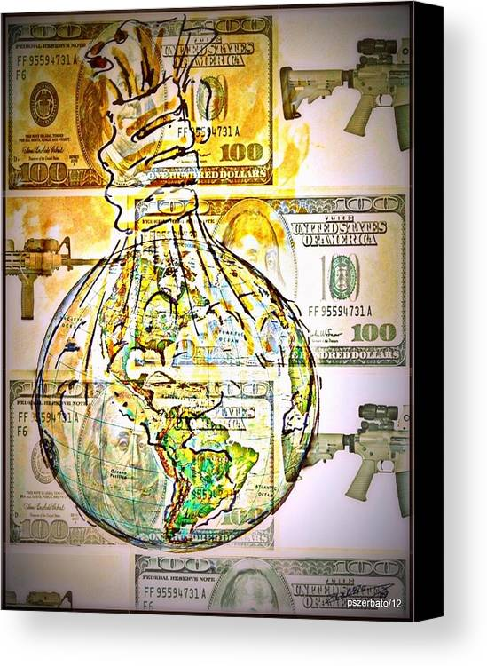 The World Is Money Canvas Print featuring the digital art The World Is Money by Paulo Zerbato
