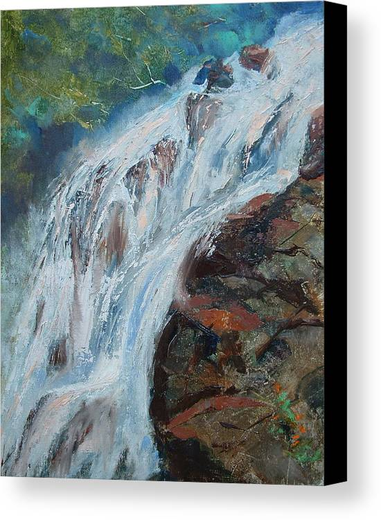 Waterfalls Canvas Print featuring the painting Twin Falls Cascade by Bryan Alexander