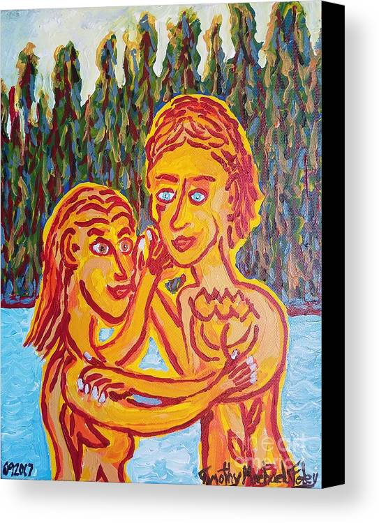 Man Canvas Print featuring the painting Two By Two by Timothy Michael Foley