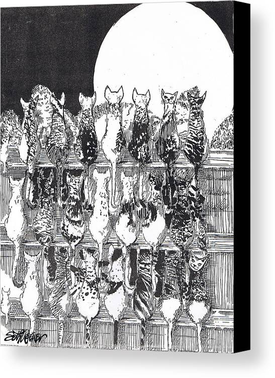 Cats Canvas Print featuring the drawing Two Dozen And One Cats by Seth Weaver