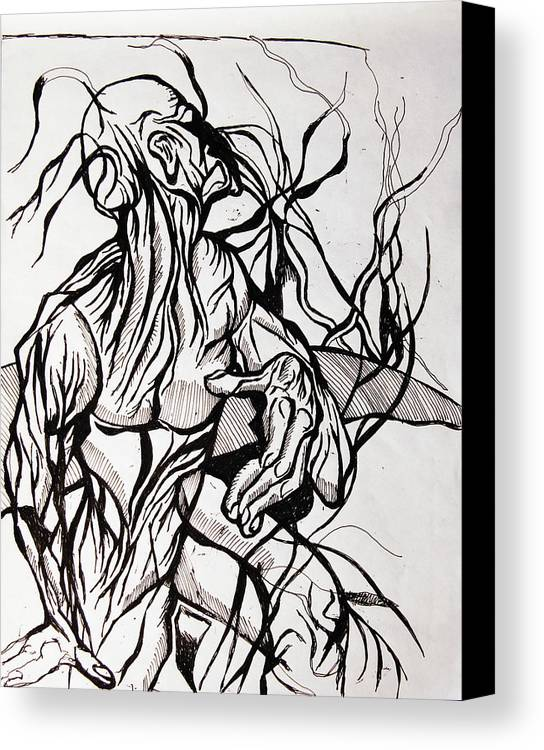 Comic Canvas Print featuring the drawing Two Hell And Back by Jon Baldwin Art