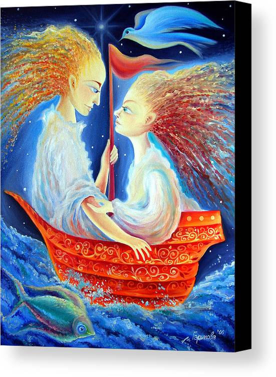 Lovers Canvas Print featuring the painting Two In A Boat by Liliya Garipova