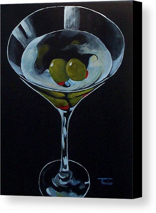 Martini Canvas Print featuring the painting Two Olive Martini by Torrie Smiley