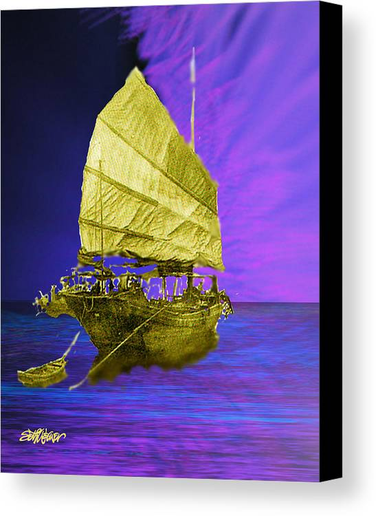 Nautical Canvas Print featuring the digital art Under Golden Sails by Seth Weaver