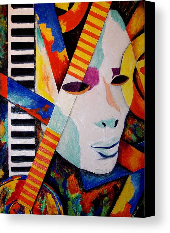 Keyboard Canvas Print featuring the mixed media Unmasking The Sound by Angela Green