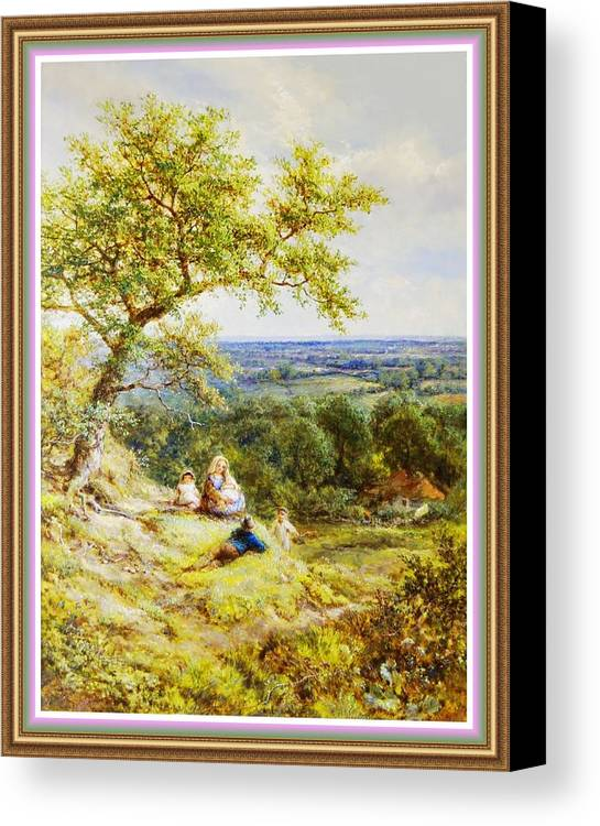 Rural Canvas Print featuring the painting View From The Hill On The Village Below. P B With Decorative Ornate Printed Frame. by Gert J Rheeders