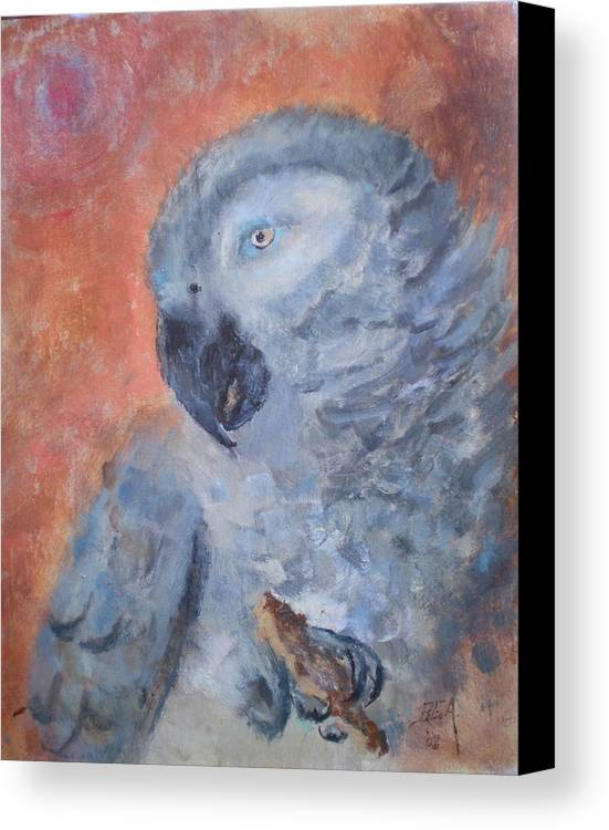 African Grey Parrot Canvas Print featuring the painting Vinny by Bryan Alexander