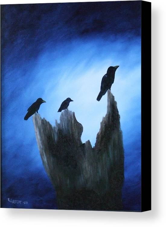 Birds Canvas Print featuring the painting Watching For Company by Rebecca Fitchett