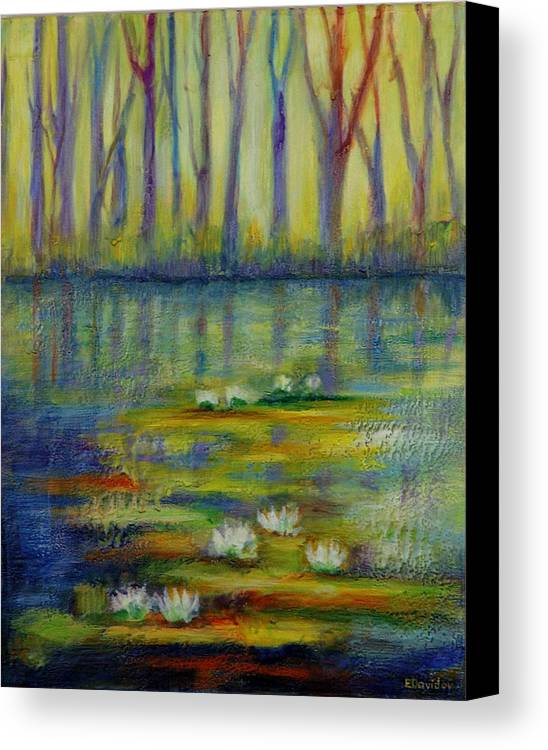 Water Canvas Print featuring the painting Water Lilies No 2. by Evgenia Davidov