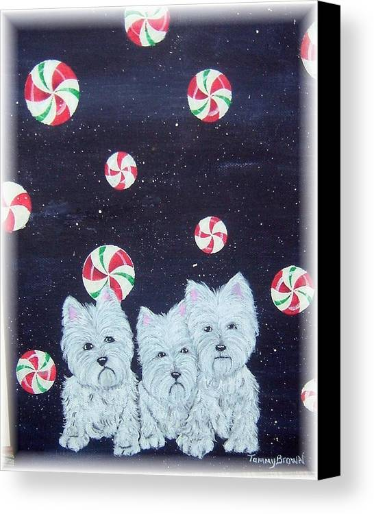 West Highland Terrier Canvas Print featuring the painting Westies In Candy Land by Tammy Brown