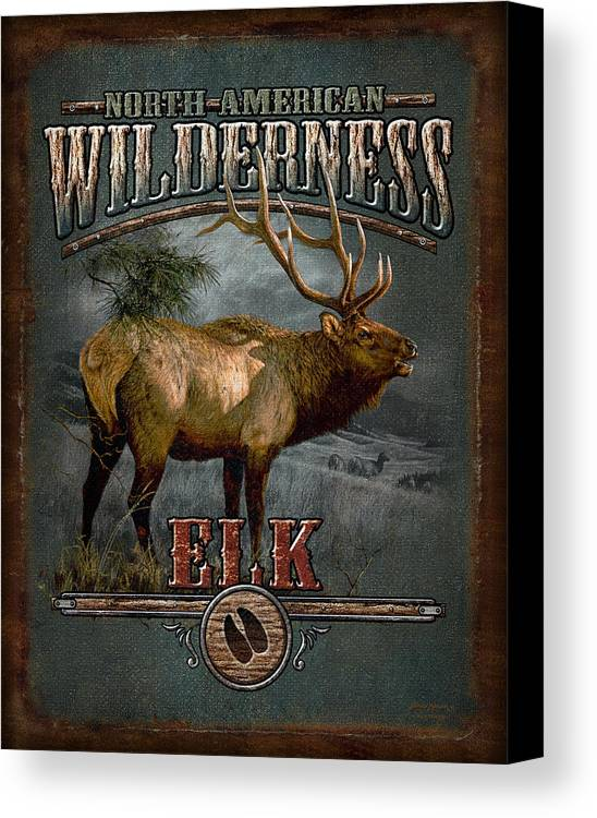 Bruce Miller Canvas Print featuring the painting Wilderness Elk by JQ Licensing