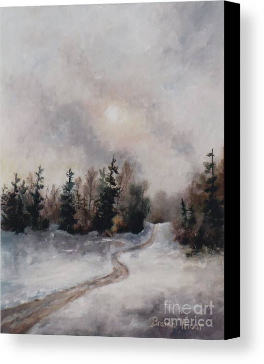 Winter Canvas Print featuring the painting Winters Sunset by Brenda Thour