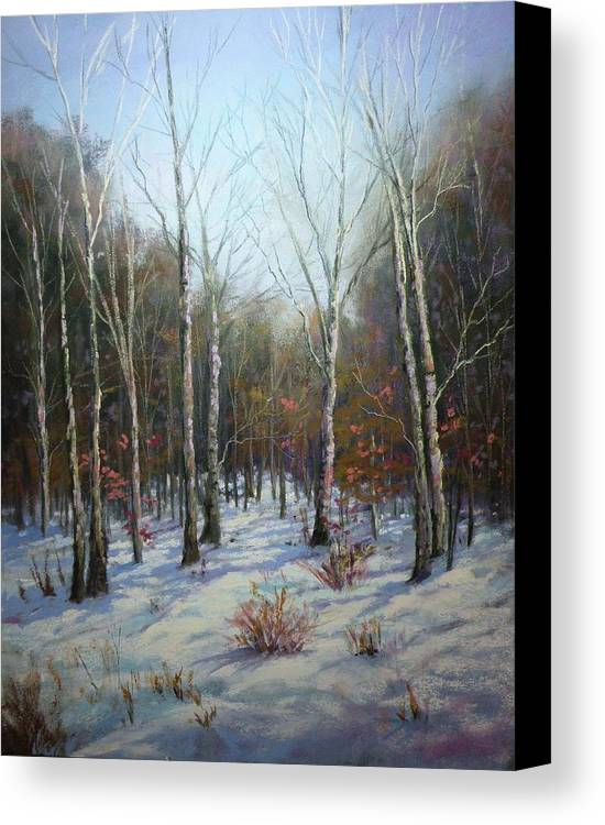 Pastel Canvas Print featuring the painting Winterscape by Paula Ann Ford
