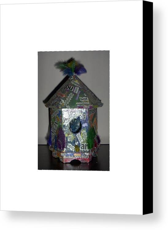 Bird House Pun Canvas Print featuring the painting Wordhouse by Sally Van Driest