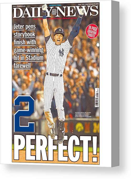 American League Baseball Canvas Print featuring the photograph Daily News Front Page Wrap Derek Jeter 1 by New York Daily News