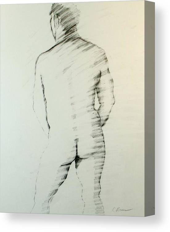 Male Canvas Print featuring the drawing Figure 9 by Craig Bruce