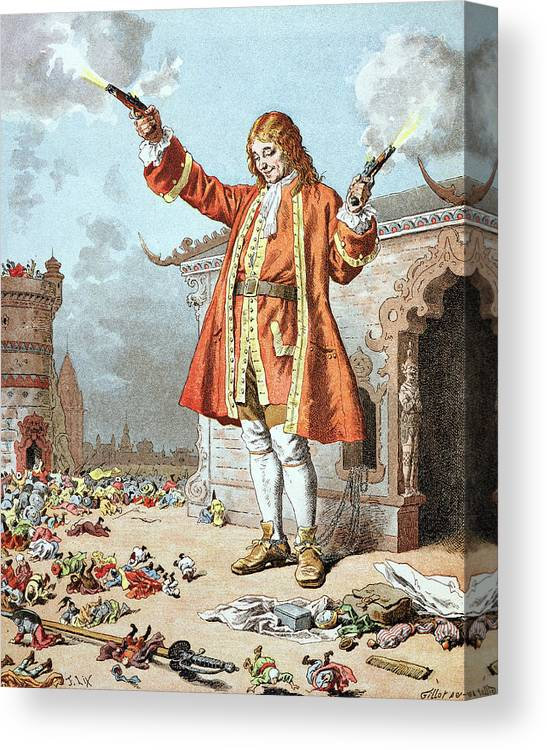 'gulliver's Travels' Canvas Print featuring the painting Scene From Gullivers Travels by Frederic Lix