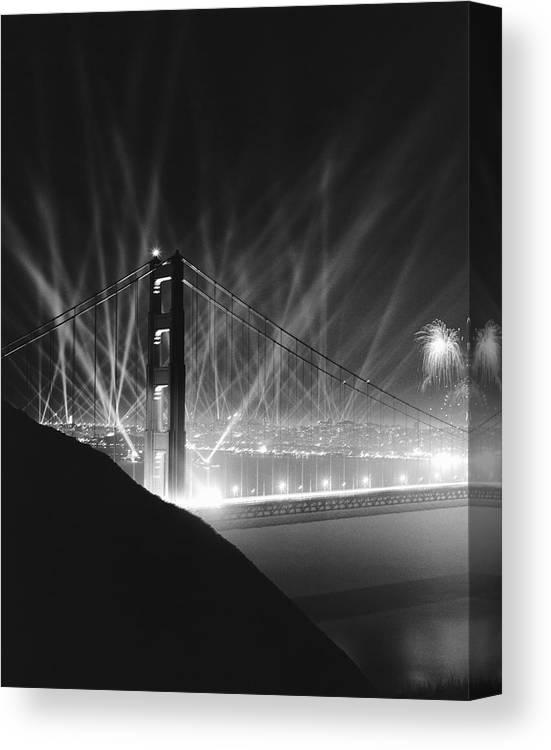 1930's Canvas Print featuring the photograph Golden Gate Bridge Opening by Underwood Archives