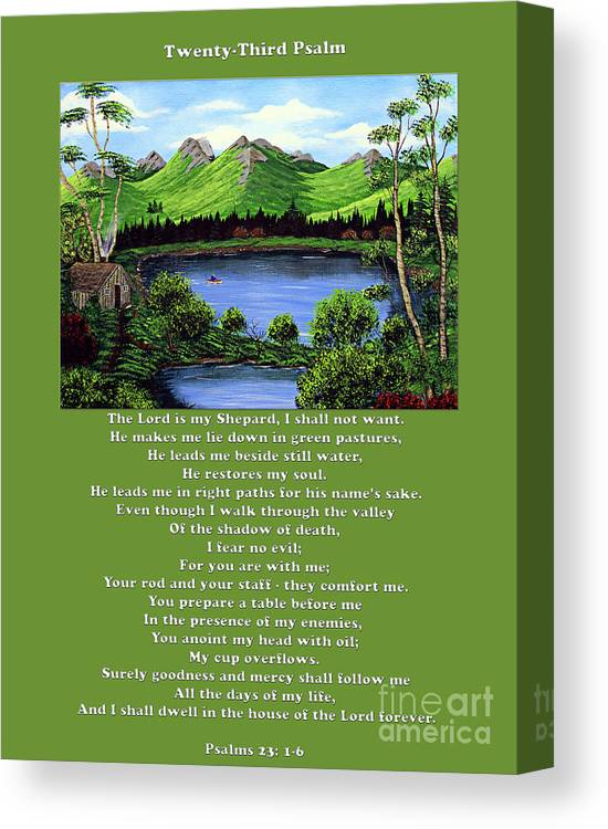 Twenty Third Psalm Canvas Print featuring the painting Twin Ponds And 23 Psalm On Green by Barbara Griffin