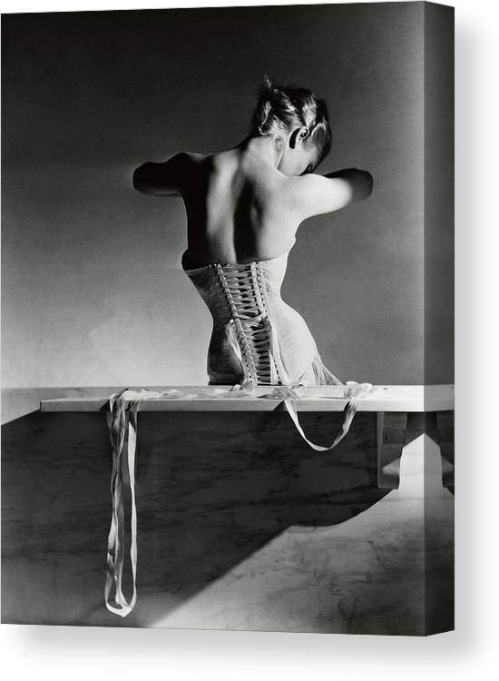 Accessories Canvas Print featuring the photograph The Mainbocher Corset by Horst P Horst