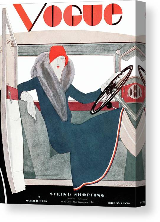 Illustration Canvas Print featuring the photograph A Vintage Vogue Magazine Cover Of A Woman by Pierre Mourgue