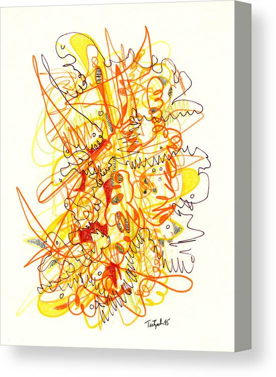 Abstract Canvas Print featuring the drawing Abstract Drawing Fifty-three by Lynne Taetzsch