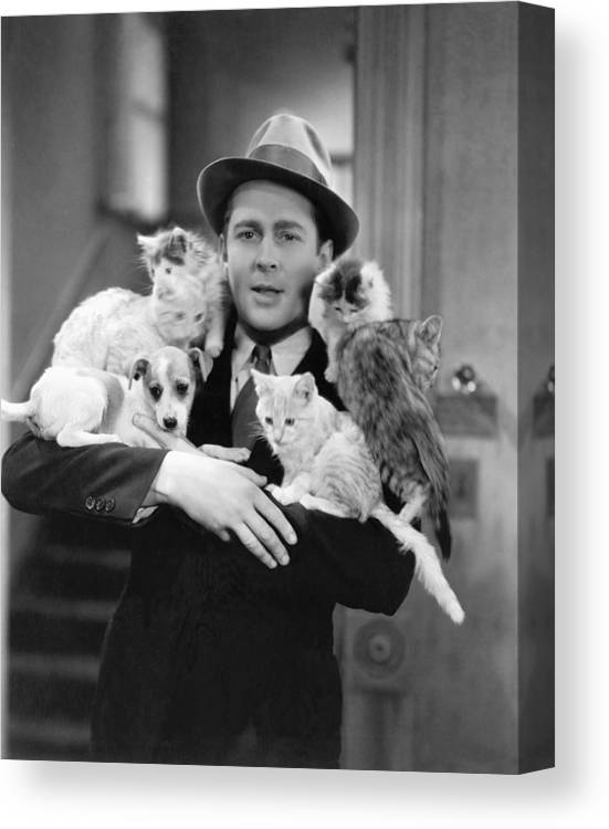 1035-611 Canvas Print featuring the photograph Armful Of Cats And Dogs by Underwood Archives