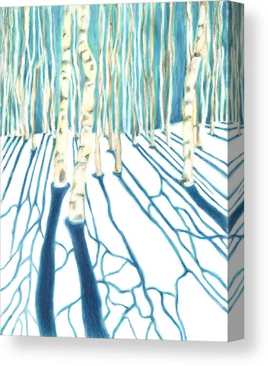 Landscape Canvas Print featuring the painting Aspen Snow Shadows by Carrie MaKenna