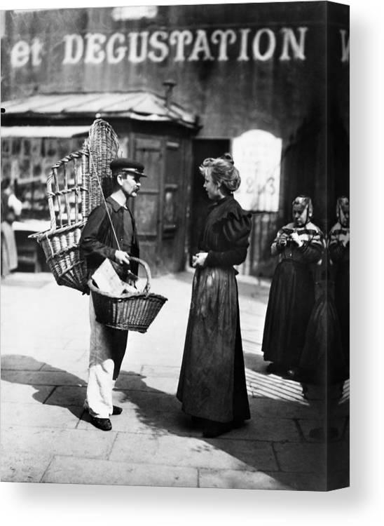 1898 Canvas Print featuring the photograph Atget Paris Street, C1898 by Granger