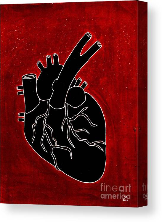 Canvas Print featuring the painting Black Heart by Stefanie Forck