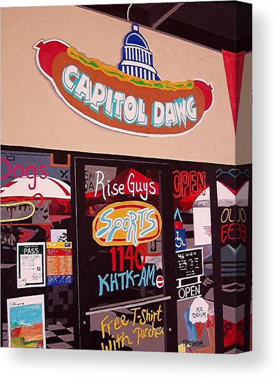 Sacramento Canvas Print featuring the painting Capitol Dawg by Paul Guyer