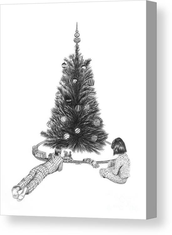 Christmas Cards Art Canvas Print featuring the drawing Christmas Morning Play by Peter Piatt