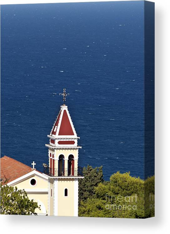 Architecture Canvas Print featuring the photograph Church On The Top Of The Bohali Hill In Zakynthos Greece by Aleksandar Mijatovic