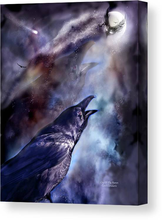 Raven Canvas Print featuring the mixed media Cry Of The Raven by Carol Cavalaris