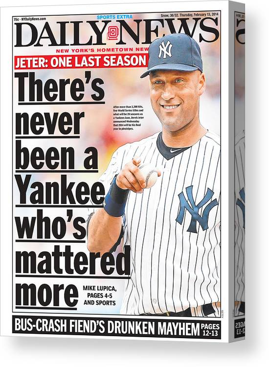 American League Baseball Canvas Print featuring the photograph Daily News Front Page Derek Jeter by New York Daily News