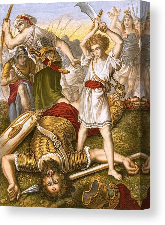 Bible Canvas Print featuring the painting David Slaying Goliath by English School